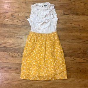 Anthropologie   Savoy Dress Mustard w/ Birds sz:2